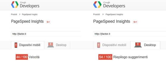 Punteggi PageSpeed Insights prima dell'ottimizzazione
