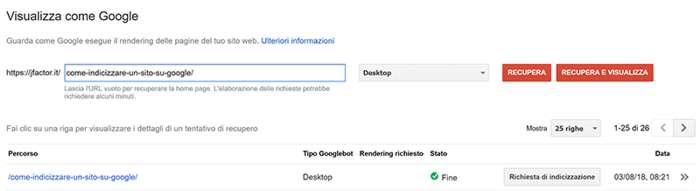 indicizzazione siti web tramite visualizza come google