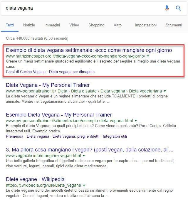 risultato ottenuto su google da blog